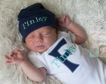 Personalized Newborn Outfit - Coming Home Outfit - Monogrammed Baby Outfit - Embroidered Baby Hat -