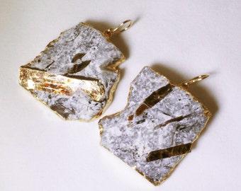 Rare Astrophyllite Earrings Statement Earrings Astrophyllite Jewelry Raw Stone Earrings 24K Gold Dipped Astro-E-102-023g