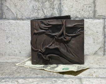Necronomicon Evil Dead Leather Men Bi Fold Wallet Goth Black Brown Zombie Monster Face Horror HP Lovecraft Fantasy Fathers Day Gift 533