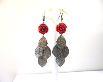 Shimmering Leaf Earrings Red Rose Gunmetal Jewelry