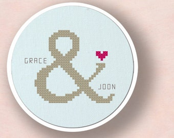 Couple Ampersand Love Cross Stitch Pattern, Personalize Customize Modern Simple Cute Giftable Cross Stitch Pattern PDF, Instant Download