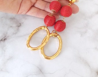 Red Thread Ball and Gold Chain Link Clip-On Earrings