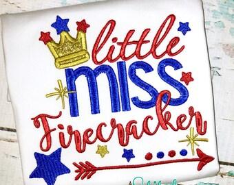 Little Miss Firefracker, 4th of July Applique, Fourth of July Applique, Fireworks Applique, Firecracker Applique, Firecracker