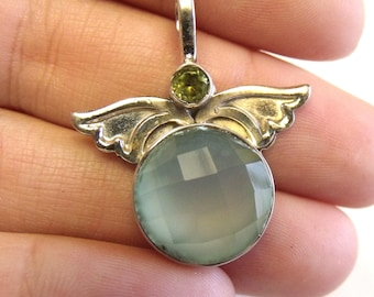 Beautiful • Solid Sterling SILVER Pendant • Faceted Aqua Chalcedony • Peridot Accents • Angel