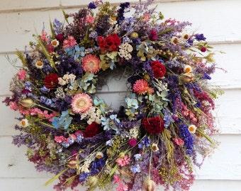 """Romantic Wreath, """"Wildflowers"""" Dried Floral Wreath, Easter Wreath, Year Round Wreath, Door Wreath,Spring Wreath,Centerpiece,Flower Wreath"""