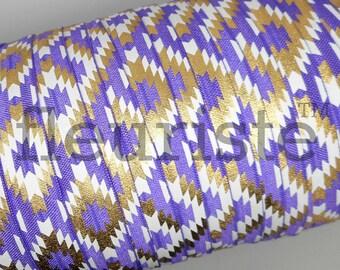 Fold Over Elastic, FOE, Foldover Elastic, Elastic By The Yard, 5/8 Elastic, Printed Elastic, Wholesale Elastic, fleuriste, Purple Navajo