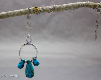 Turquoise Necklace, Turquoise Pendant, Minimalist Necklace, Silver Necklace, American Turquoise, Pendant Necklace, Nevada Turquoise