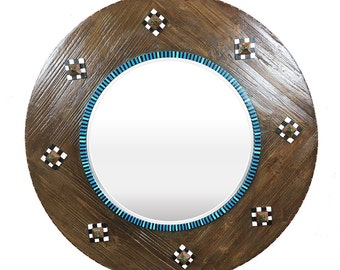 Round Wood Framed Beveled Mirror, Large Round Mirror