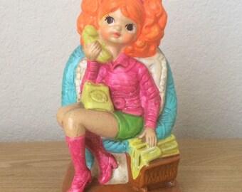 Vintage Plasterware Neon Girl on Phone Bank, Retro Neon Plasterware Doll Bank