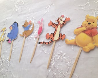 Winnie the Pooh Cupcake Toppers Tigger Eeyore Roo Rabbit Piglet Set of 12