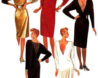 1980s Dress Pattern Long Short Pullover Deep V Back Uncut McCall's Easy Vintage Sewing Women's Misses Size 18 - 20 Bust 40 - 42 Inches