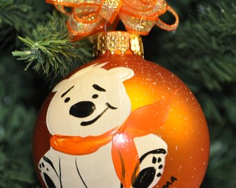 Single,  hand painted Polar bear ornament