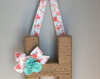 Monogram Wreath with Floral Ribbon. Farmhouse style Jute Letter.