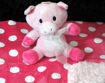 Pig Squeaker Toy & Blanket - Dog Toy  - Cuddle Critter Pig - Pig Toy and Blanket - Includes Embroidered Personalization