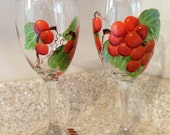 Hand painted grape themed wine glasses. Add your names, or any message!