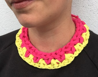 Colour pop bib necklace - Neon Pink and Yellow