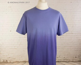 Mens ombre pastel goth t-shirt blue to dark blue hand dyed T shirt gradient shirt pastel grunge shirt aesthetic clothing Size L and XL