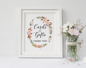 Printable wedding cards and gifts sign, Wedding cards and gifts sign, Boho Floral cards and gifts sign printable, The Katie collection