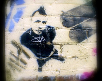 Punk Art Print 5x5 Graffiti Photo - City Anarchy Stencil Art Aerosol Painting Photograph - Urban Street Art TtV Photography
