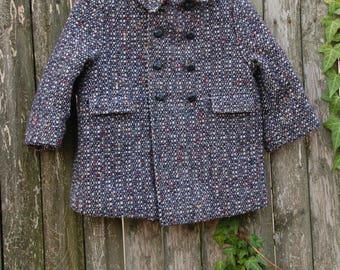 Vintage 70s TWEED Girls Coat Kids Black WINTER Coat 1970s WOOL Jacket