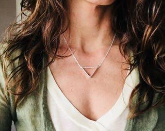 V Necklace, Chevron Necklace, Silver V Necklace, Gold V Necklace, V Slider Necklace, Triangle Necklace, Silver Triangle Necklace