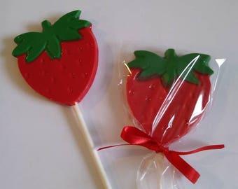 Strawberry chocolate lollipops