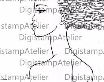 African Star Woman. INSTANT DOWNLOAD Digital Digi Stamps.