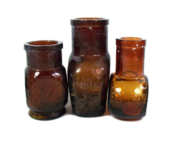 Set of 3 English Antique Brown Glass Jars