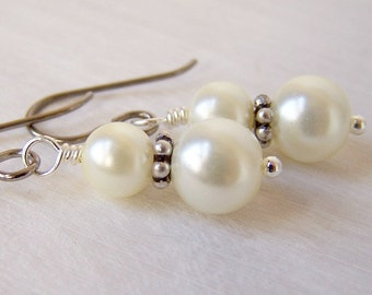 titanium and silver ivory cream bridal glass pearl earrings - simple grace