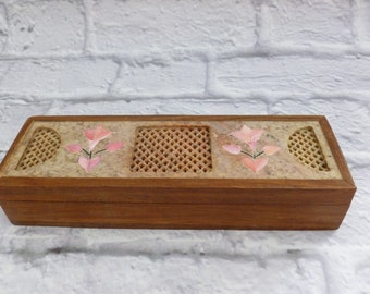 Vintage Wooden Incense Box Soapstone Lid with Mother of Pearl Pink Inlay, Hinged Storage Box, Vintage Box, Bohemian, Home Decor