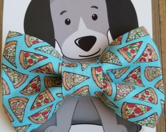 Pizza Bow Tie for Cat or Dog, Pet Clothing, Slide on Collar Accessory, Collar not Included, Bowtie, Handmade in Canada, Food, Slice