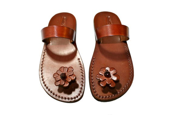Sandals Leather Pop Jesus Sandals amp; Flower Sandals Sandals Brown Flip Flop Genuine Women Sandals Leather Handmade Unisex For Men 4nxFE