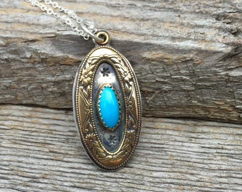 Shadow Box Turquoise Sterling Silver .Brass & Sterling Necklace.Rustic. Necklace. Mixed Metals