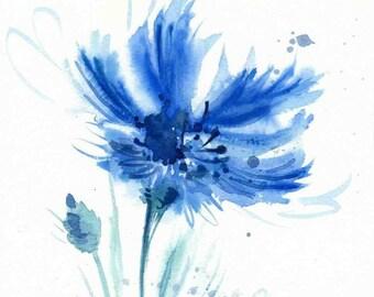 Blue watercolor Flower print Cornflower watercolor Blue print Watercolor flower painting Wall decor Poster giclee wall print