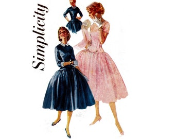Simplicity 1373 Womens Full Skirt Rockabilly Dress Scalloped Bodice 50s Vintage Sewing Pattern Size 12 Bust 30 inches UNCUT Factory Folds