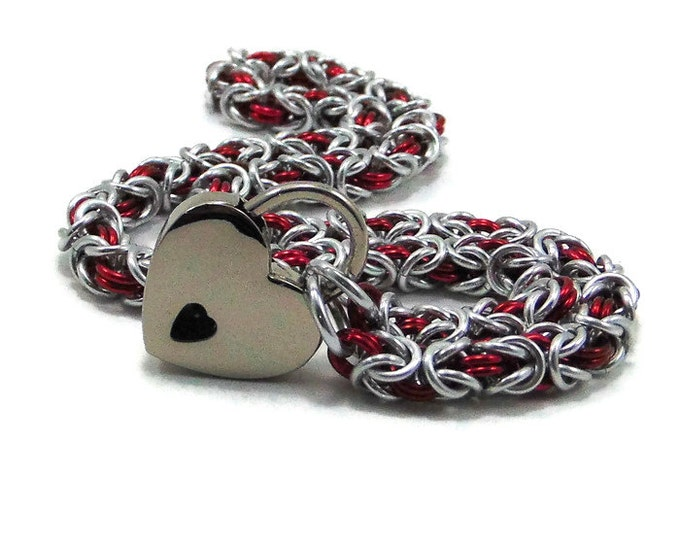 Locking BDSM Slave Collar Silver and Red with Small Heart Padlock Necklace