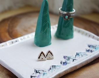 Pine tree ceramic Ring Cone dish, Ring Holder, Boho Jewelry, jewelry ring holder, handmade ring holder
