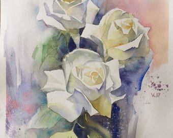 White roses, original watercolor, painting, ART, 19X9 inches