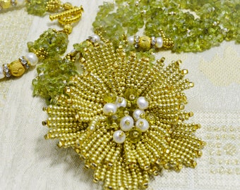 Green Gold Natural Gemstone Peridot Beaded Flower Multistrand Necklace Bracelet Set Statement Stone Floral Artisan Jewelry Mothers Day Gift