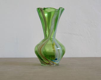 End of day handblown clear green glass crimped marble swirl bud vase, Italy, 1960's