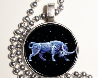Taurus Zodiac Horoscope Altered Art Photo Pendant, Keychain and/or Earrings, Round, Silver and Resin Charm Jewelry