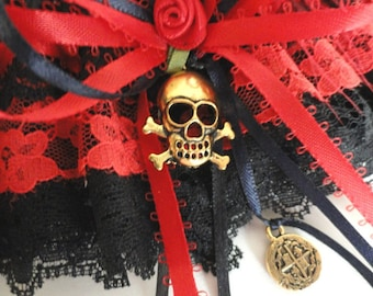 Pirate Wench Costume Garter•Pirate Cosplay•Renaissance Faire•Pirate Party•Medieval Costume•Gothic Garter, Pirate Wedding•LAST ONE