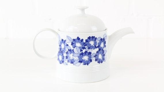 Vintage Melitta Hamburg tee or coffee can blue German retro pottery