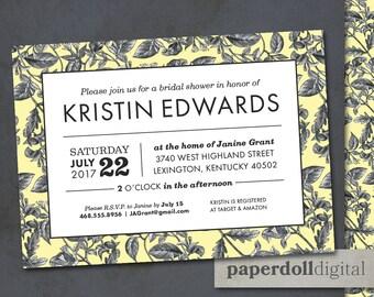 "Printable Floral Bridal Shower Invitation Download - 5""x7"" Custom Printable Bridal Shower Invitation - Vintage Style Floral Bridal Invite"
