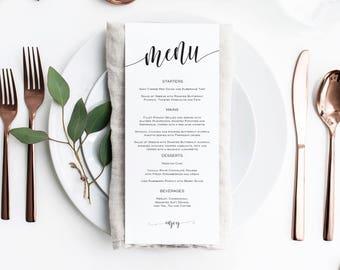Wedding Menu Printable, Wedding Menu Template, Rustic Menu, Printable Menu Card, Instant Download Editable PDF, WLP606