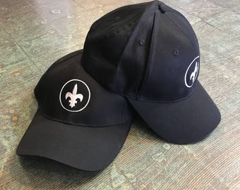 Embroidered Fleur de Lis black and white cap dad hat // one size fits most // ironic hipster baseball