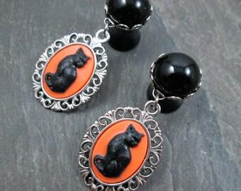 Dangle Plugs - 10g - 8g - 6g - 4g - 2g - 0g - Cat Plugs - Cat Lady Jewelry - Dangle Gauges - Cat Plug Earrings - Black Cat Gauges