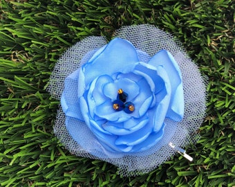 Hair Flower Pin / Fabric Flower/ Handmade flower/ Girl accessory/Wedding Blue hair piece set/Blue Flower Decor/Bobby pin Blue Flower