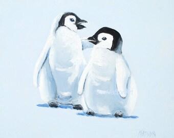 Nursery art, Penguins oil painting, baby penguins, baby animals, kids room art, zoo animals, Etsy Art, Jan Matson
