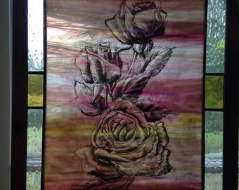 Peace Rose stained glass